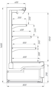 Сечение полувертикальной витрины Ikar Plug-In